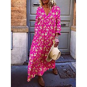 Women's Maxi A Line Dress - Long Sleeve Floral V Neck Vacation Beach Loose Yellow Fuchsia Light Blue S M L XL XXL XXXL XXXXL XXXXXL