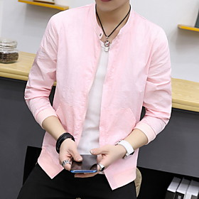 Protective Clothing Anti Dust And Droplet Men's Trench Coat, Solid Colored Stand Long Sleeve Polyester White / Blushing Pink / Light Blue
