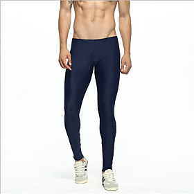 Compression Gym Men's Normal Nylon Sexy Long Johns Color Block Mid Waist