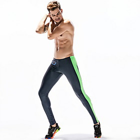 Compression Gym Men's Normal Cotton Sexy Long Johns Color Block Mid Waist