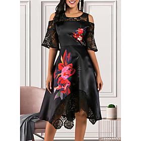 Women's A-Line Dress Midi Dress - Short Sleeve Floral Lace Ruffle Streetwear Black M L XL XXL 3XL