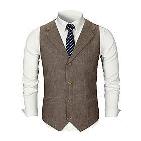 Men's Vest, Solid Colored Shirt Collar Polyester Black / Dark Gray / Khaki