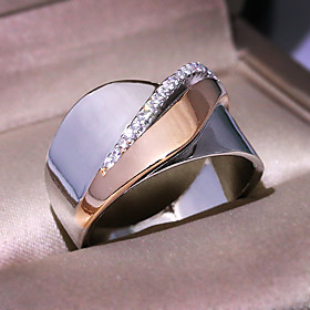 Men's Women's Ring AAA Cubic Zirconia 1pc Silver Rose Gold Platinum Plated Alloy Stylish Wedding Party Jewelry Cute