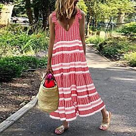 Women's Maxi Loose Dress - Sleeveless Striped Strap Loose Red S M L XL XXL