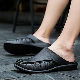 Men's Clogs  Mules Casual Daily Leather Breathable Wear Proof White / Black / Khaki Summer / Fall