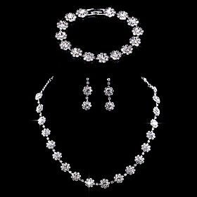 Women's Jewelry Set Bridal Jewelry Sets Tennis Chain Flower Stylish Simple Luxury European Earrings Jewelry Silver For Wedding Party Evening Engagement Gift Fo