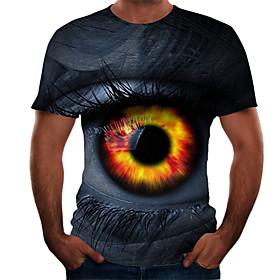 Men's Plus Size Color Block 3D T-shirt Basic Daily Weekend Round Neck Blue / Short Sleeve
