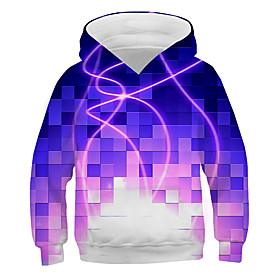 Kids Boys' Basic Street chic Color Block 3D Print Long Sleeve Hoodie  Sweatshirt Purple