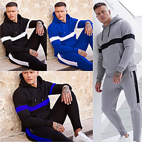 Men's 2-Piece Tracksuit Sweatsuit Casual Long Sleeve Windproof Breathable Soft Fitness Gym Workout Running Jogging Sportswear Stripes Outfit Set Clothing Suit