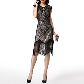 Sheath / Column Roaring 20s 1920s Fashion Party Wear Cocktail Party Dress Jewel Neck Short Sleeve Knee Length Polyester with Sequin Tassel 2020