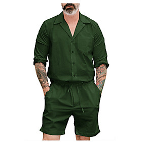 Men's Black Green Khaki Romper Onesie, Solid Colored US36 / UK36 / EU44 US38 / UK38 / EU46 US40 / UK40 / EU48