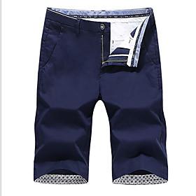 Men's Basic Shorts Bermuda shorts Pants Solid Colored Black Khaki Green US32 / UK32 / EU40 US34 / UK34 / EU42 US36 / UK36 / EU44