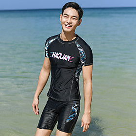 Men's Rash Guard Dive Skin Suit Two Piece Swimsuit Elastane Swimwear UV Sun Protection Breathable Quick Dry Short Sleeve Swimming Surfing Water Sports Patchwor
