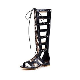 Women's Boots Flat Heel Open Toe Rivet Microfiber Knee High Boots Casual / Preppy Spring  Summer Black / Brown