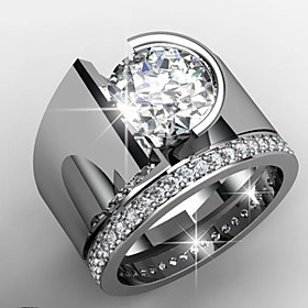 Men's Women's Ring AAA Cubic Zirconia 1pc Silver Platinum Plated Alloy Stylish Wedding Engagement Jewelry Cute