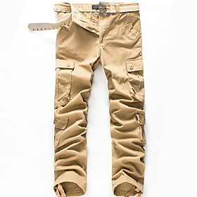 Men's Basic Chinos Pants Solid Colored Black Army Green Khaki US32 / UK32 / EU40 US34 / UK34 / EU42 US36 / UK36 / EU44