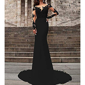Mermaid / Trumpet Wedding Dresses V Neck Sweep / Brush Train Polyester Long Sleeve Formal Plus Size Black Modern with Ruffles Draping 2020
