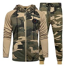 Men's Hoodie Camo / Camouflage Hooded Basic Hoodies Sweatshirts  Army Green Khaki Light Blue