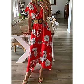 Women's A-Line Dress Maxi long Dress - Short Sleeve Print Floral Spring Summer V Neck Beach Belt Not Included Red Yellow S M L XL XXL