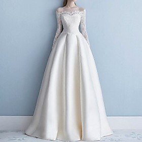 A-Line Wedding Dresses Off Shoulder Sweep / Brush Train Lace Long Sleeve Beach Illusion Sleeve with Lace Insert Embroidery 2020