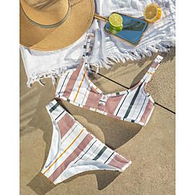 Women's Halter Basic Bikini Swimsuit Backless Print Striped Swimwear Bathing Suits White Black
