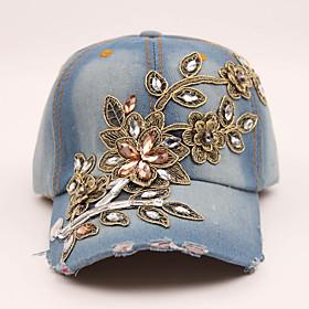 Women's Basic Cotton Baseball Cap-Solid Colored Floral Print Spring Summer Blue Dark Gray Navy Blue