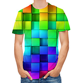 Men's Geometric Graphic Print T-shirt Daily Round Neck Rainbow / Short Sleeve