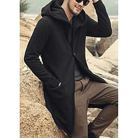 Men's Hooded Trench Coat Long Solid Colored Daily Long Sleeve Black Blue Wine US32 / UK32 / EU40 US36 / UK36 / EU44 US38 / UK38 / EU46