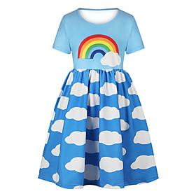 Kids Girls' Basic Cute Sun Flower Floral Color Block Rainbow Print Short Sleeve Knee-length Dress Light Blue