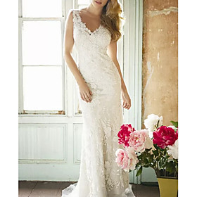 Sheath / Column Wedding Dresses V Neck Sweep / Brush Train Lace Polyester Sleeveless Country Plus Size with Draping Appliques 2020