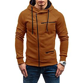 Men's Hooded Trench Coat Regular Solid Colored Daily Basic Long Sleeve White Black Red US34 / UK34 / EU42 US38 / UK38 / EU46 US40 / UK40 / EU48 / Slim