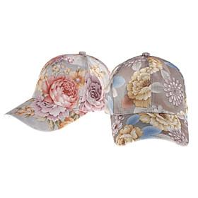 Women's Basic Cotton Baseball Cap-Floral Print Spring Summer Light Brown Beige Light Blue