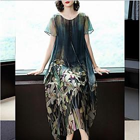 Women's Shift Dress Maxi long Dress - Short Sleeves Print Loose Green M L XL XXL XXXL
