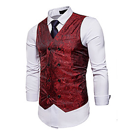 Men's V Neck Vest Plaid White / Blue / Red US32 / UK32 / EU40 / US34 / UK34 / EU42 / US36 / UK36 / EU44 / Slim