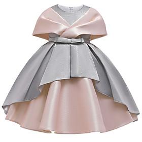Kids Girls' Active Sweet Patchwork Criss Cross Sleeveless Knee-length Dress Dusty Rose