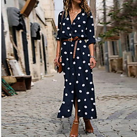 Women's A-Line Dress Maxi long Dress - Half Sleeve Polka Dot Spring Summer Shirt Collar Maxi Dress Black Blue Red Army Green S M L XL XXL