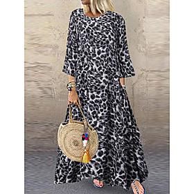 Women's A-Line Dress Maxi long Dress - Half Sleeve Leopard Oversize Spring Summer Maxi Dress Beach Brown Gray S M L XL XXL 3XL 4XL 5XL