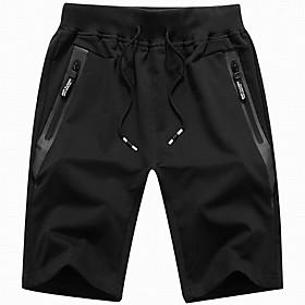 Men's Basic Shorts Bermuda shorts Pants Solid Colored Drawstring Black Army Green Light gray US32 / UK32 / EU40 US34 / UK34 / EU42 US36 / UK36 / EU44