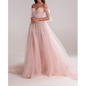 A-Line Elegant Engagement Formal Evening Dress Sweetheart Neckline Sleeveless Court Train Tulle with Bow(s) Pleats 2020