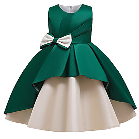 Kids Girls' Active Cute Patchwork Solid Colored Bow Sleeveless Midi Dress Wine