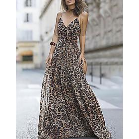 Women's Maxi Swing Dress - Sleeveless Leopard Strap Fuchsia Brown Navy Blue S M L XL
