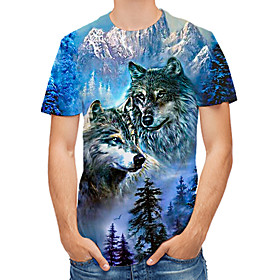 Men's 3D Graphic Print T-shirt Daily Casual Round Neck Blue / Summer / Short Sleeve / Animal