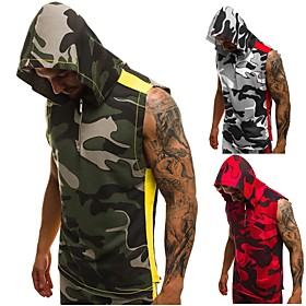 Men's Tank Top Zipper 3D Print White Army Green Red Cotton Yoga Running Fitness Tank Top Sleeveless Sport Activewear Breathable Quick Dry Comfortable Micro-ela