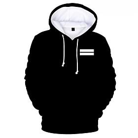 Men's Hoodie Print Hooded Casual Hoodies Sweatshirts  White Black Red
