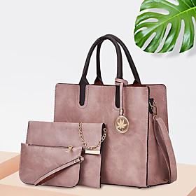 Women's Polyester / PU Bag Set Solid Color 3 Pcs Purse Set Blushing Pink / Red / Brown