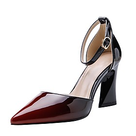 Women's Heels Sculptural Heel Pointed Toe PU Spring  Summer Black / Burgundy / Blue