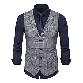 Men's V Neck Vest Solid Colored Khaki / Light gray / Dark Gray US34 / UK34 / EU42 / US36 / UK36 / EU44 / US40 / UK40 / EU48 / Slim