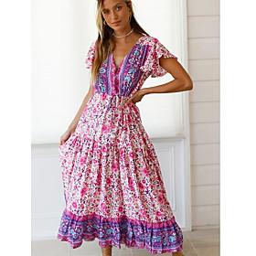 Women's Maxi A Line Dress - Short Sleeves Print V Neck Blushing Pink S M L XL
