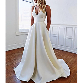 A-Line Wedding Dresses Plunging Neck Sweep / Brush Train Stretch Satin Sleeveless Sexy Plus Size with Bow(s) Draping 2020