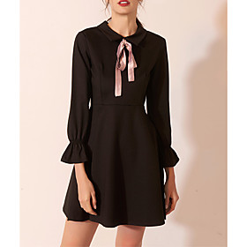 A-Line Little Black Dress Black Homecoming Cocktail Party Dress Jewel Neck Long Sleeve Short / Mini Spandex with Bow(s) 2020